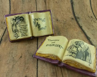 Alice in Wonderland Book Magnet, Alice Quote Magnet, Alice Magnet, Curiouser and Curiouser, Literary Quote, Mad Here Quote, Book Magnet