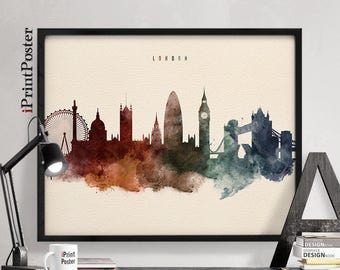 London wall art, London skyline art, London poster, London art, London print, Wall art, Home Decor, Travel decor, iPrintPoster
