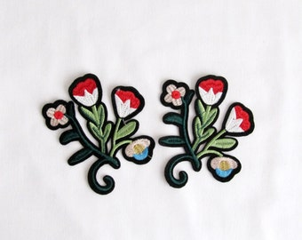 Lorica Flower Patch,2 PCS.Bunch of flower Sew On Patch flower Applique Embroidered Patches kids Clothes Patch Baby Clothing Patches