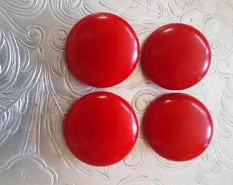 VINTAGE Red Resin Plastic Buttons. Set of 16.