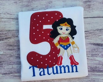 Wonder Woman Applique Shirt, Wonder Woman Birthday Shirt