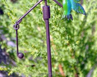Hummingbird Garden Stake for Miniature Garden, Fairy Garden