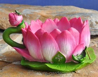 Lotus Tea Cup Planter for Miniature Garden, Fairy Garden
