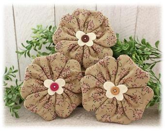 Flowers Bowl Fillers 3-Set Cupboard Tucks Tan Floral