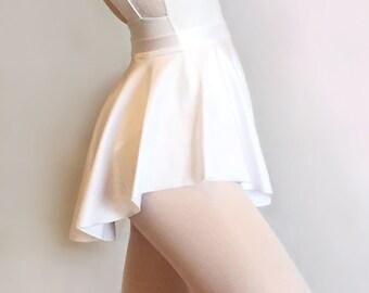 Ballet Skirt- White SAB skirt- Dance Wear- Classic White Lycra/ Spandex- Royall Dancewear- Pull-on Skating Lyrical