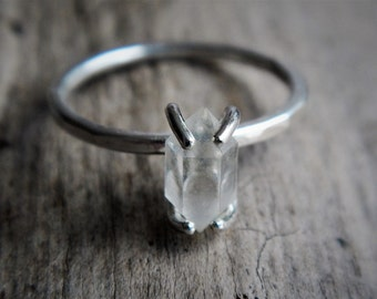 Frosted Herkimer Diamond and Sterling Silver Ring - Stackable Crystal Ring - Raw Crystal Ring - Rough Stone Ring - Hammered Silver Ring