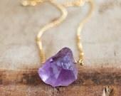 Raw Amethyst Necklace in Silver or Gold February Birthstone Rough Amethyst Jewellery Raw Crystal Necklace Raw Stone Necklace
