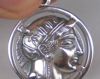 For Sale Goddess Athena & Owl of Wisdom Silver Pendant Athens Tetradrachm