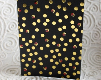 Gold Polka Dots, Ladybugs, journal, notebook, sketch book, blank pages, black