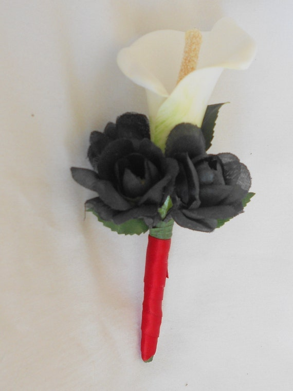 Set of 6 boutonniers red black and  with a calla lilie we have other colors