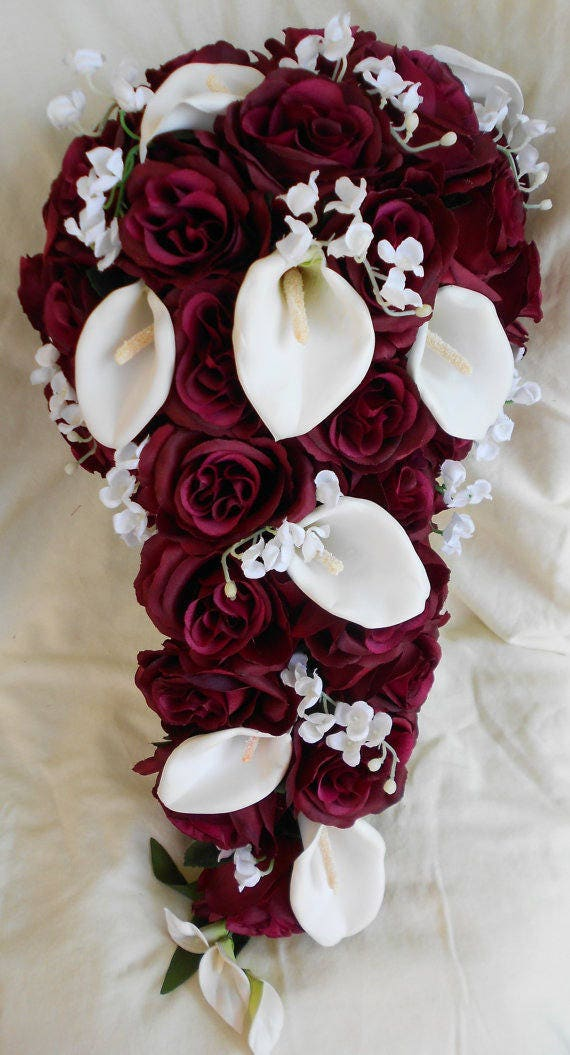 Burgundy  cascade bouquet callas lilies , lilies of the valley and roses 2 pieces free  tose