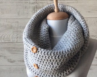 Scarf, infinity scarf, winter scarf,  grey knit scarf, mens scarf, women scarf, circle scarf, chunky scarf Many Colors FAST DELIVERY