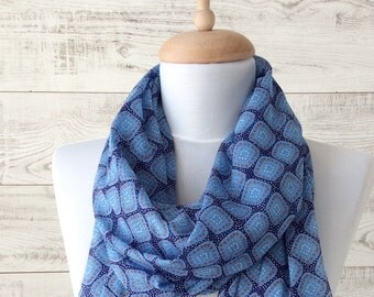 Silk blue scarf spring scarf infinity scarf gift idea for her silk scarf