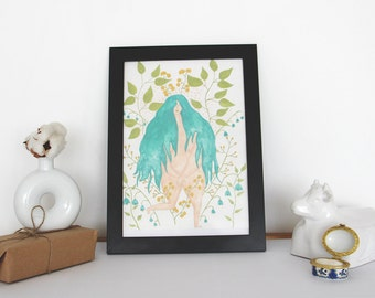 Naked Girl Print of Original Watercolor Nature Illustration - aprox. A4 dimension - Home decor - Girl Illustration -Green Hair- Giclée print