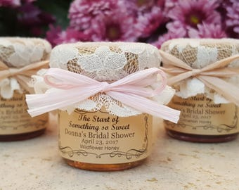 Bridal Shower Favors Honey-- 12 --1.5oz jars w/ personalized labels, laced/burlap topper & raffia ribbon