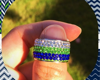Seahawks Bling Ring Size 8 to 10