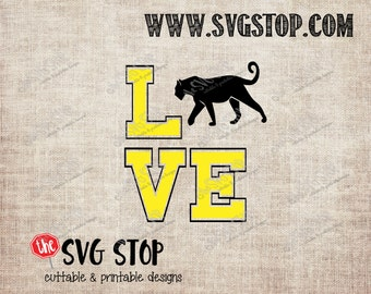 Panther Love design Svg, Dxf, Jpg, Png, & Eps files for Silhouette Cricut Vinyl Cutting and Printing