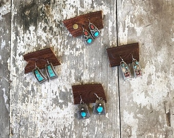Native American Watch Tip Earrings - Earrings -  Watch Tip Earrings - Vintage Watch Tips - Sterling Silver Earrings - Turquoise