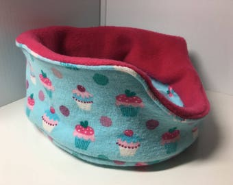 """Cuddle Cup Cupcake Fabric 9"""" Reversible Bed For Guinea Pigs, Rats, Hedgehogs, Ferrets, Small Rabbits & Other Pets!"""