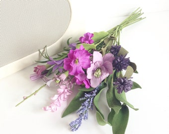 Faux mixed spring artificial flowers bouquet
