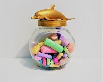 Gold Dolphin Mason Jar Topper // Sea Animal Home Storage // Jar Storage // Sea Animal Mason Jar // Dolphin Jar Decoration // Large Mason Jar
