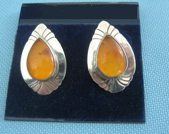 Sterling and Amber Pierced Earrings