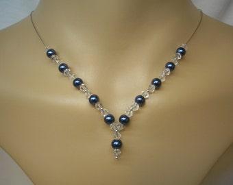 Natasha ~ Pearl & Clear Crystal Necklace, Bridesmaids Necklace, Bridal Jewelry, Y shape necklace, v neck (9cb)