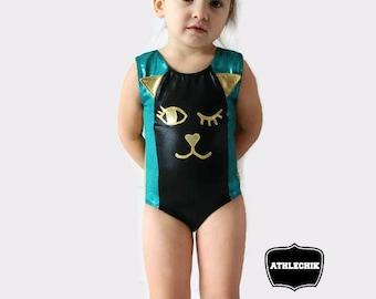 Gymnastics leotard, Kitty toddler costume, dance, ballet, swimsuit, 2T, 3T, 4T, 5Y, 6Y, athlechik, cat, kids, girls, natation, canada, jade