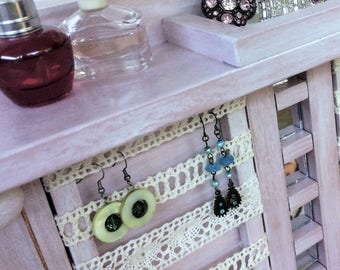 "Jewellery organiser with shelf - 20"" - Lace for earrings - Velour rings & studs box - Glass mirror tiles - Bangle bar - Handpainted - Knobs"