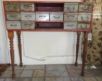 Up Cycled Index File Console/ Storage Table