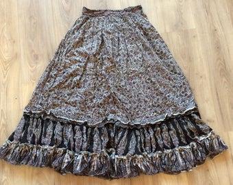 Vintage 70s Indian gauze skirt Purple/black Small