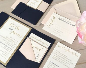 Navy, Blush And Gold Wedding Invitations, Navy And Pink Wedding Invitations,  Navy And