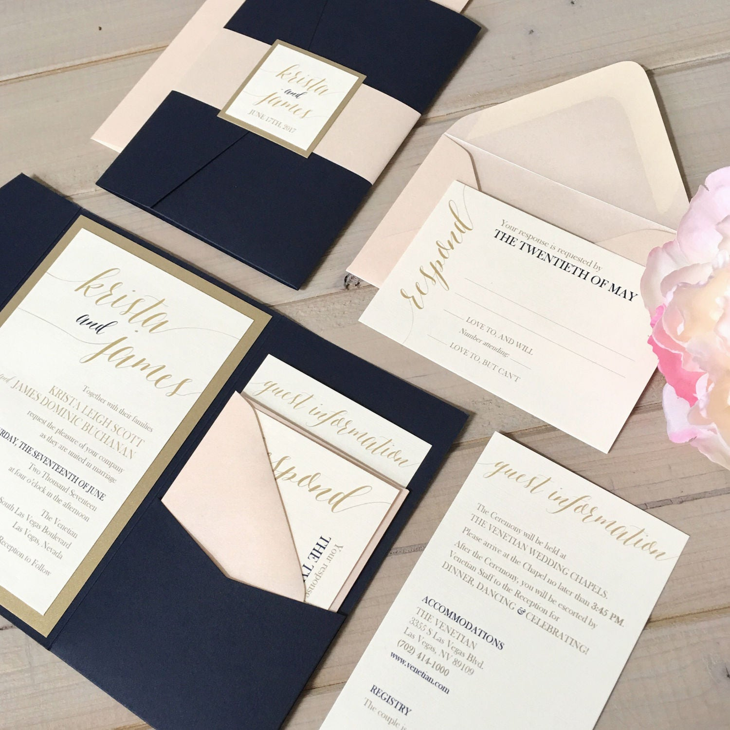 Navy Blush And Gold Wedding Invitations Navy And Pink