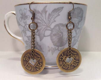 Chinese Coin Dangle Earrings