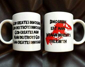 Hand Painted mug inspired by Jurassic Park