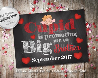 Cupid Is Promoting Me, Big Brother Sign, New Baby Announcement, Pregnancy Announcement, September 2017, Instant Download, Digital Files