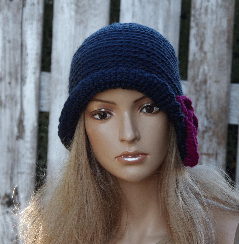 crochet hat womens trendy hat navy blue handmade by