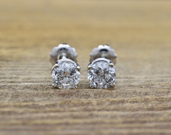14K White Gold & Genuine Diamonds (1.40 cttw) screw back pierced Earrings 1.2g