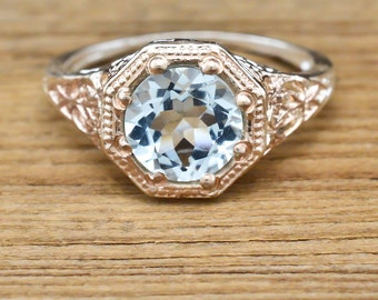 Art Deco Ring Genuine Aquamarine Solitaire Engagement Ring 925 Sterling Silver 14k Rose Gold 1.30ct Sz 4.75
