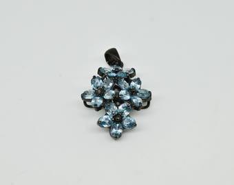 Sterling Silver 12.40cttw Genuine Blue Zircon Pendant 8.2g
