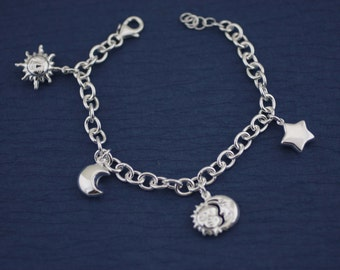 Sterling Silver Celestial Charm Bracelet, Celestial Bracelet, Silver Hollow Star Charm Bracelet, Sterling Silver charm bracelet, moon charm