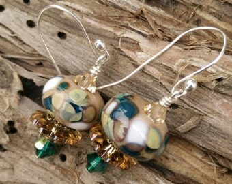 Forest Earrings Natural Earrings Brown Earrings Glass Lampwork Earrings Swarovski Crystal Earrings River Stone Earrings Woodland Earrings