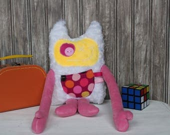 Monstres à Câlins with ears, handmade plush, pink and yellow with dots pocket, baby girl shower or birthday gift,room decoration,ready to go