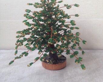 Handmade beaded Christmas tree. Miniature Artificial Christmas Tree.Tree of life. Christmas gift.Christmas decor.Most popular item.July 2016