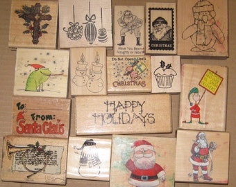Used Rubber Stamps Lot of 16 Christmas stamps / craft/ card making/ supplies/ ink/ scrap books