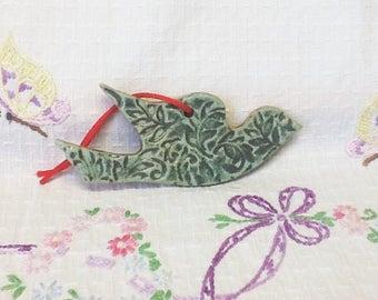 Handmade Pottery DOVE or BIRD ORNAMENT -Great Housewarming, Spring, Wedding Favor or Hostess Gift