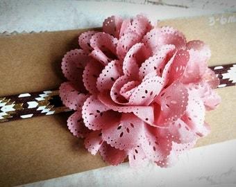 Pink flower headband-Infant Headband-Baby Headband- mauve Headband, eyelet lace Headband, 3-6 month Headband, pink Headband, baby gift