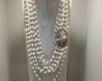 Multi row necklace freshwater pearls and cameos