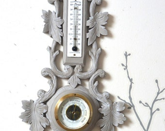 Barometer Thermometer old, weathered grey pepper