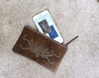 Cowhide Clutch, Leather Phone Pouch,  Cowhide Phone Clutch, Cowhide Phone Pouch, Leather Phone Pouch, Mobile Pouch, Laser Cut Clutch, Choc